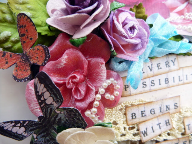 Shimmery Water-Based Paint on Resin Flowers with Paper Butterflies