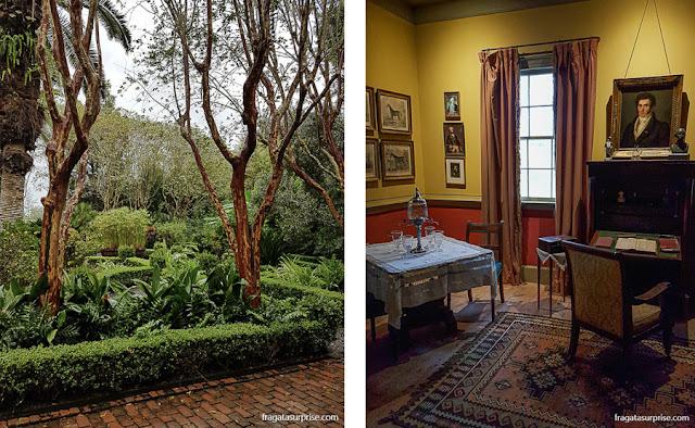 Jardim e sala de estar da Laura Plantation, fazenda histórica da Luisiana, EUA