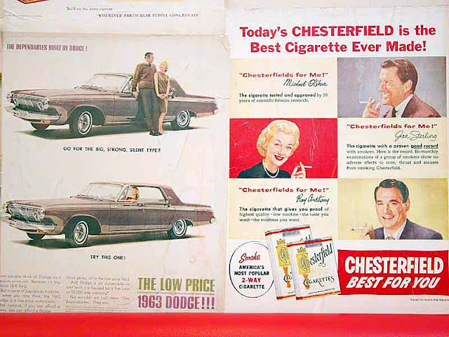 Chesterfield cigarettes, sign, Dodge, advertisement, antique