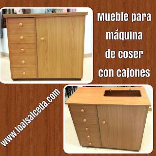 Mueble máquina de coser con cajones
