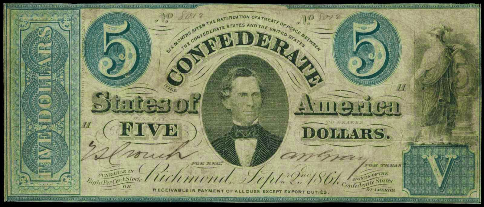 5 Dollar Treasury Bill Confederate Currency 1861 Christopher Memminger