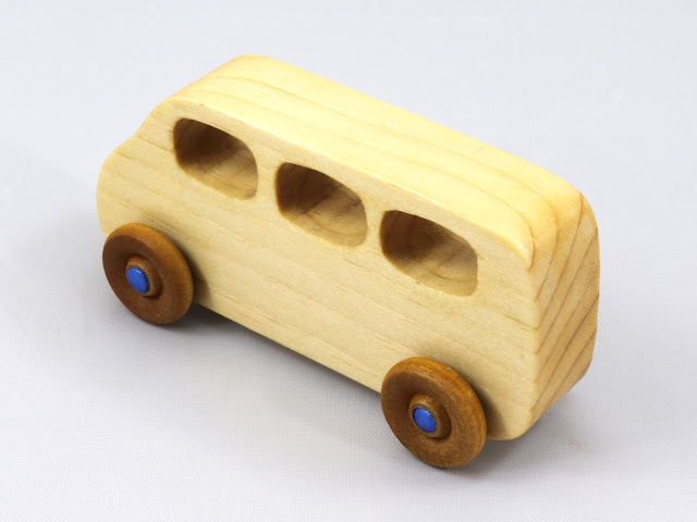 Handmade Wooden Toy Minivan from the Play Pal Series Finished With Nontoxic Clear Shellac and Metallic Blue Acrylic