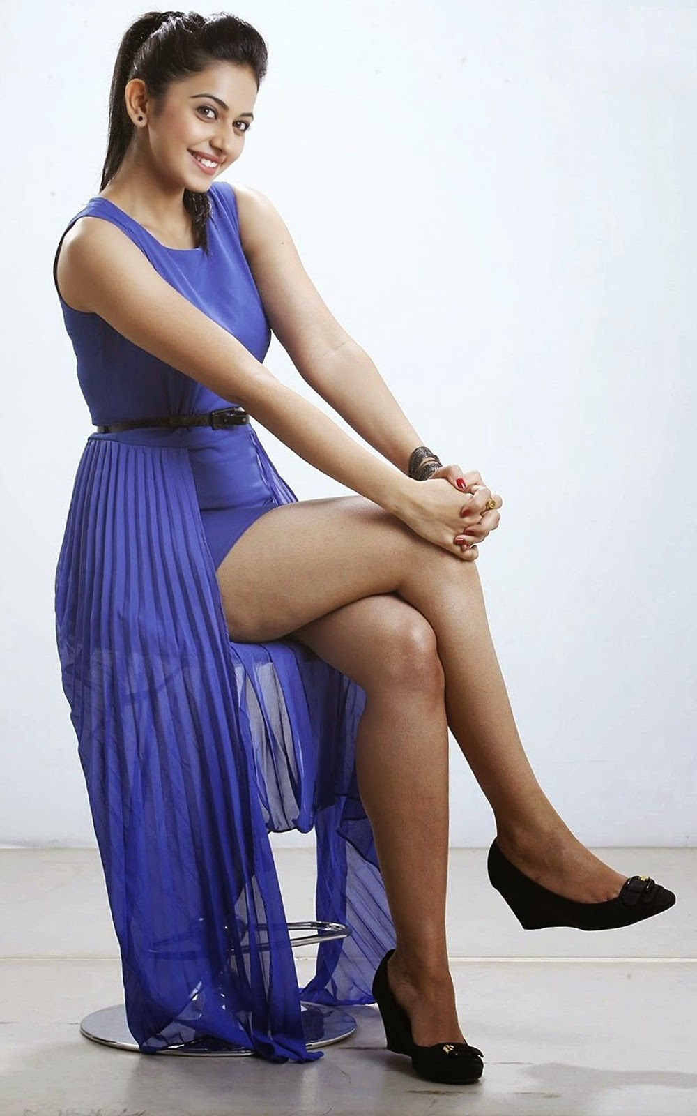 Rakul Preet In Hot Blue Top  Watch Continuously  Sexy -8758