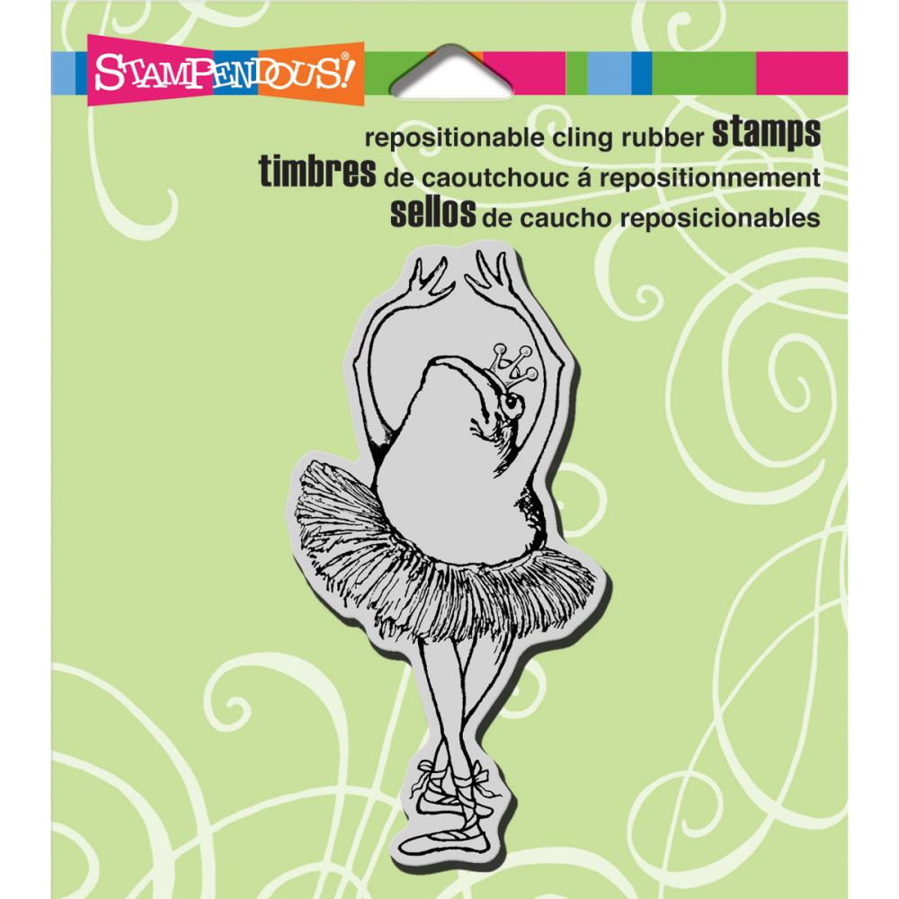 Image of the Tutu Toad stamp by Stampendous with a link to rubber stamps at Art by Jenny art and craft online shop