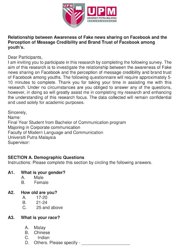 Questionnaire Sample For Research Paper