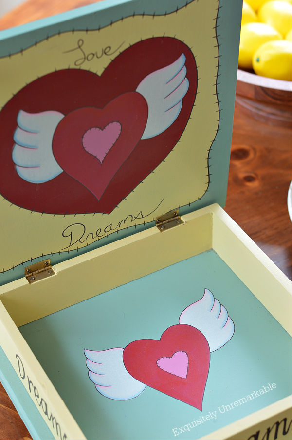 Wooden Trinket Box open on a table