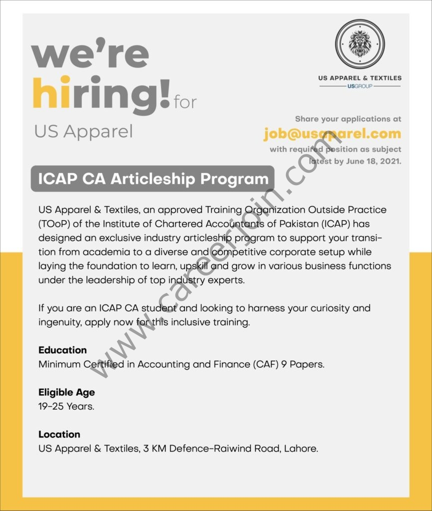 US Group ICAP CA Articleship Program 2021 in Pakistan - Apply at job@usaparel.com