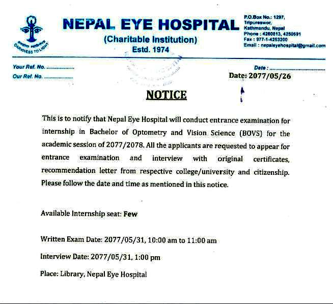 Nepal Eye Hospital Notice
