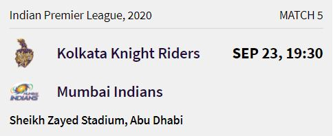 Kolkata Knight Riders match 1 ipl 2020