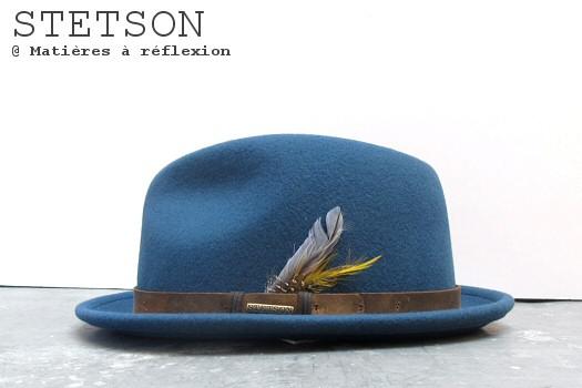 Chapeau femme bleu Stetson en feutre de laine