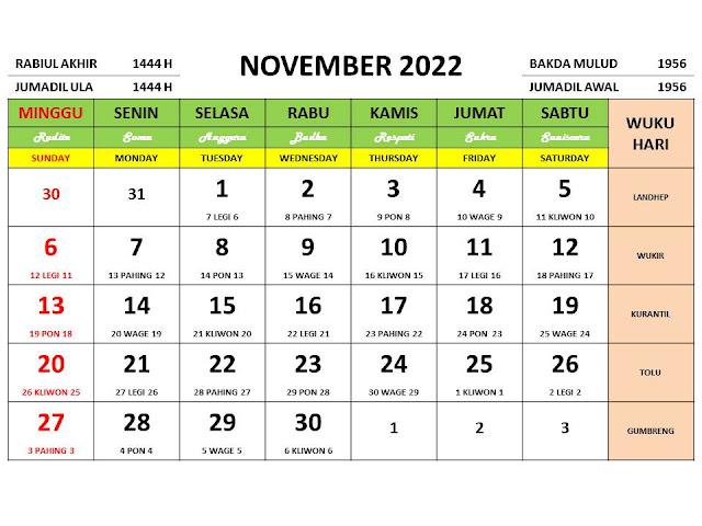 Kalender Bulan November 2022 dan Hari Peringatannya
