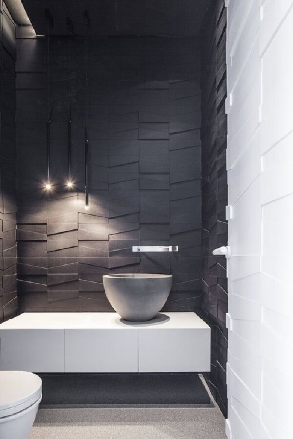 3D bathroom tile adds sophistication to the space