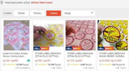 Usaha jasa cetak stiker label nama di internet