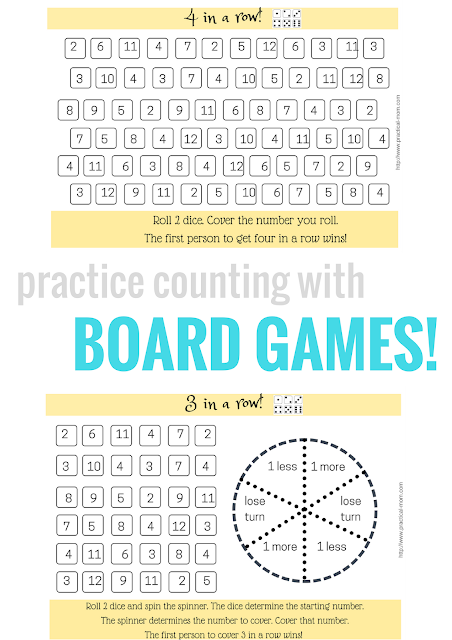 Practice Counting with Printable Board Games: 4 in a Row! by Practical Mom