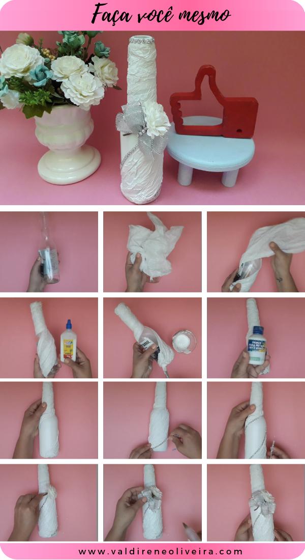 como fazer garrafa decorada para casamento