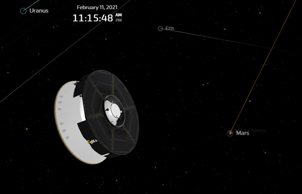 A computer-generated screenshot showing the Mars 2020 spacecraft's current position from the Red Planet...on February 11, 2021.
