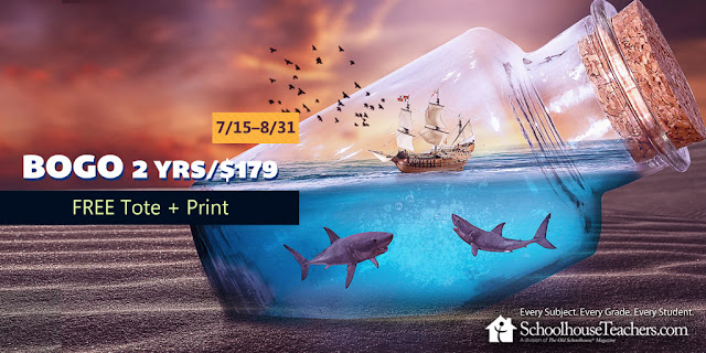 BOGO 2 Yrs/$170; Free tote & Print; 7-15-8/31; SchoolhouseTeachers.com sale image with sharks
