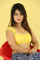 Cute Telugu Actress Shunaya Solanki High Definition Spicy Pos in Yellow Top and Skirt  0462.JPG