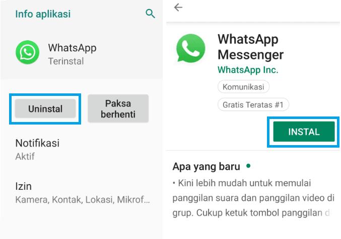 Install Ulang Aplikasi WhatsApp