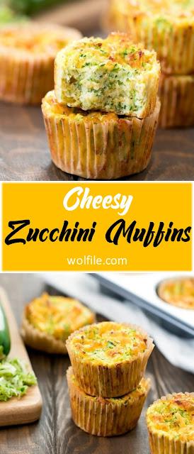 Cheesy Zucchini Muffins Recipe #Cake #Snack