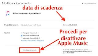 data di scadenza e come disattivare apple music tramite app musica su computer mac