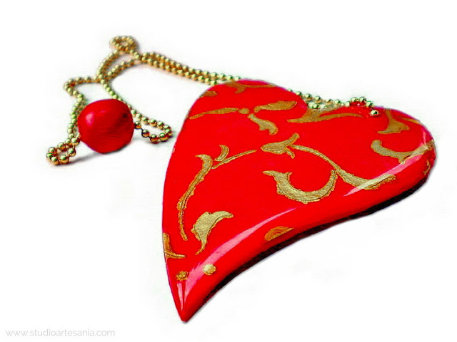 Makin's polymer clay heart bookmark