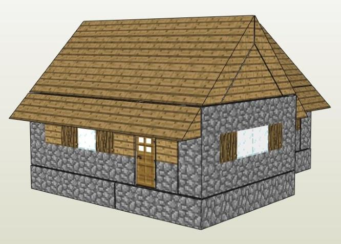 Papermau Minecraft A Village House Paper Model In