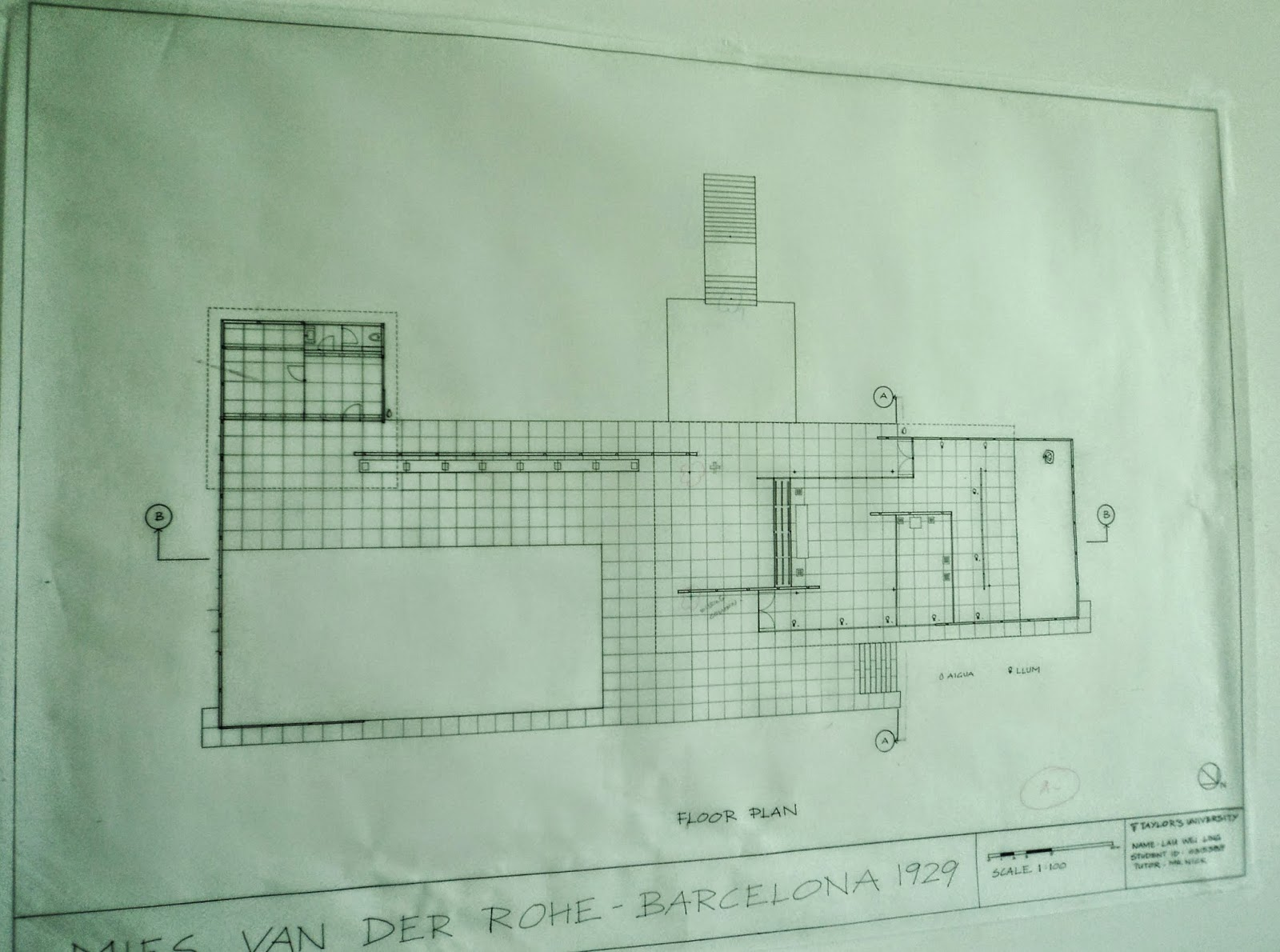 Architecture Barcelona Pavilion Technical Drawing