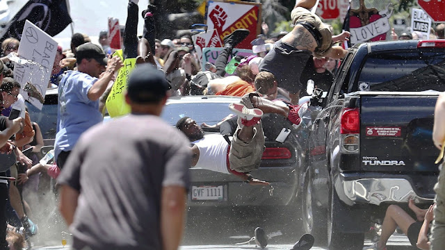 Charlottesville Virginia White terrorist attack: Dodge mowing over protesters
