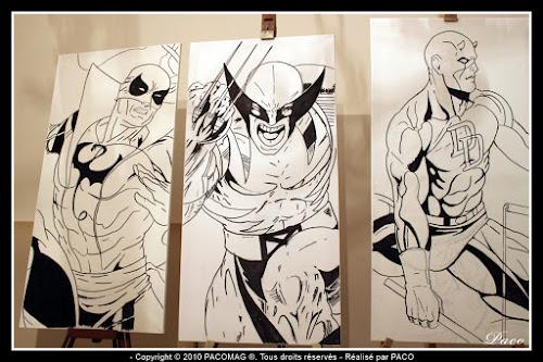 dessins de Iron Fist, Wolverine et Daredevil au marqueur sur toile=