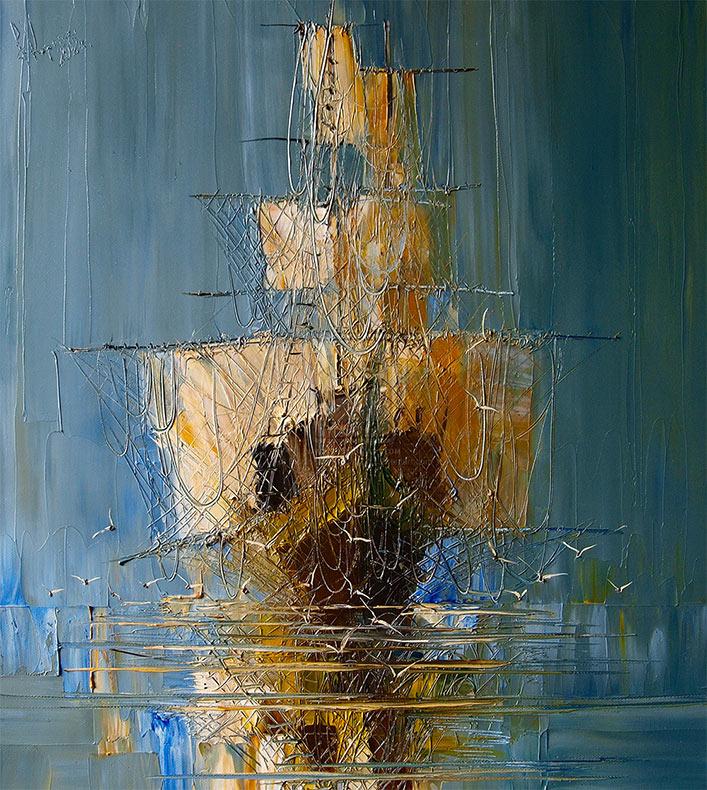 Meditativos paisajes marinos y embarcaciones pintadas por Justyna Kopania