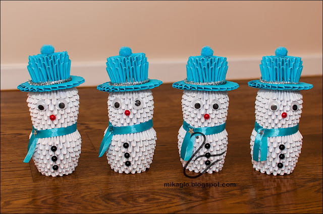 702. Bałwanki z origami / 3d origami snowmen