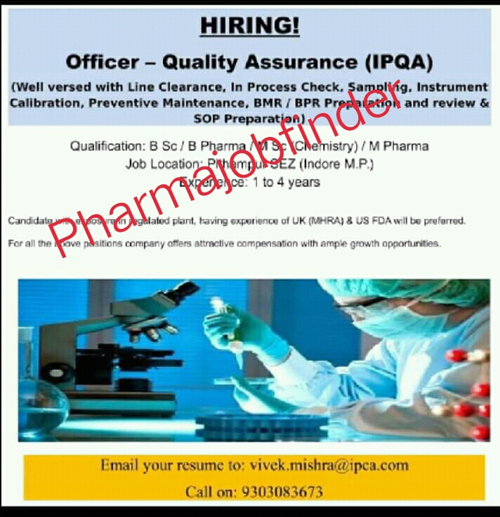 Ipca Laboratories Limited Urgently Requirement For Quality