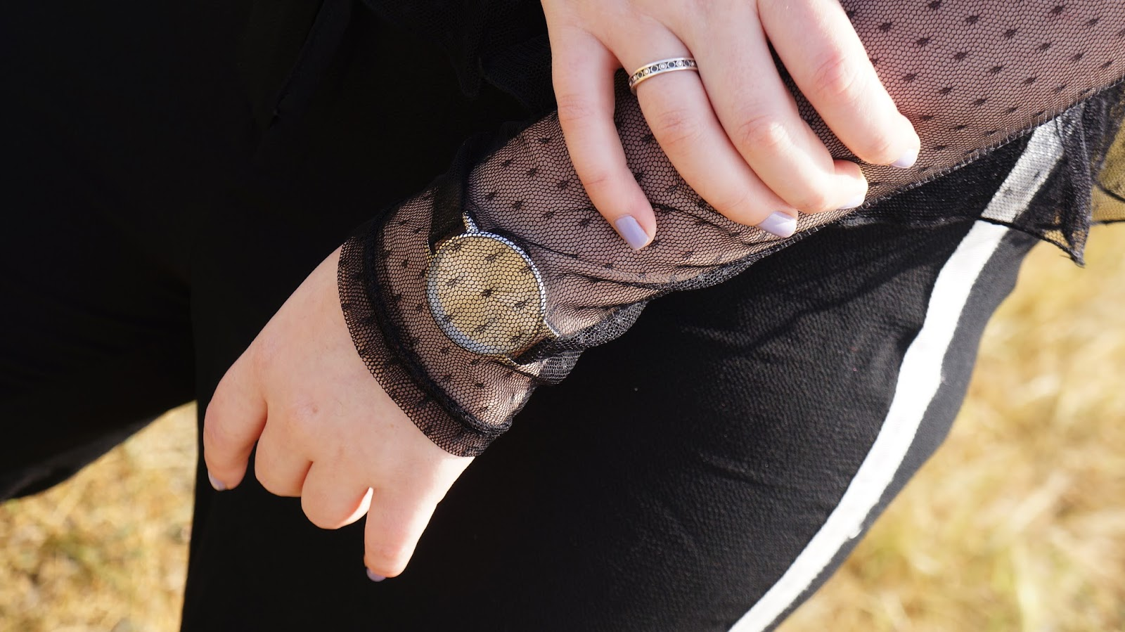 Sheer tulle over watch