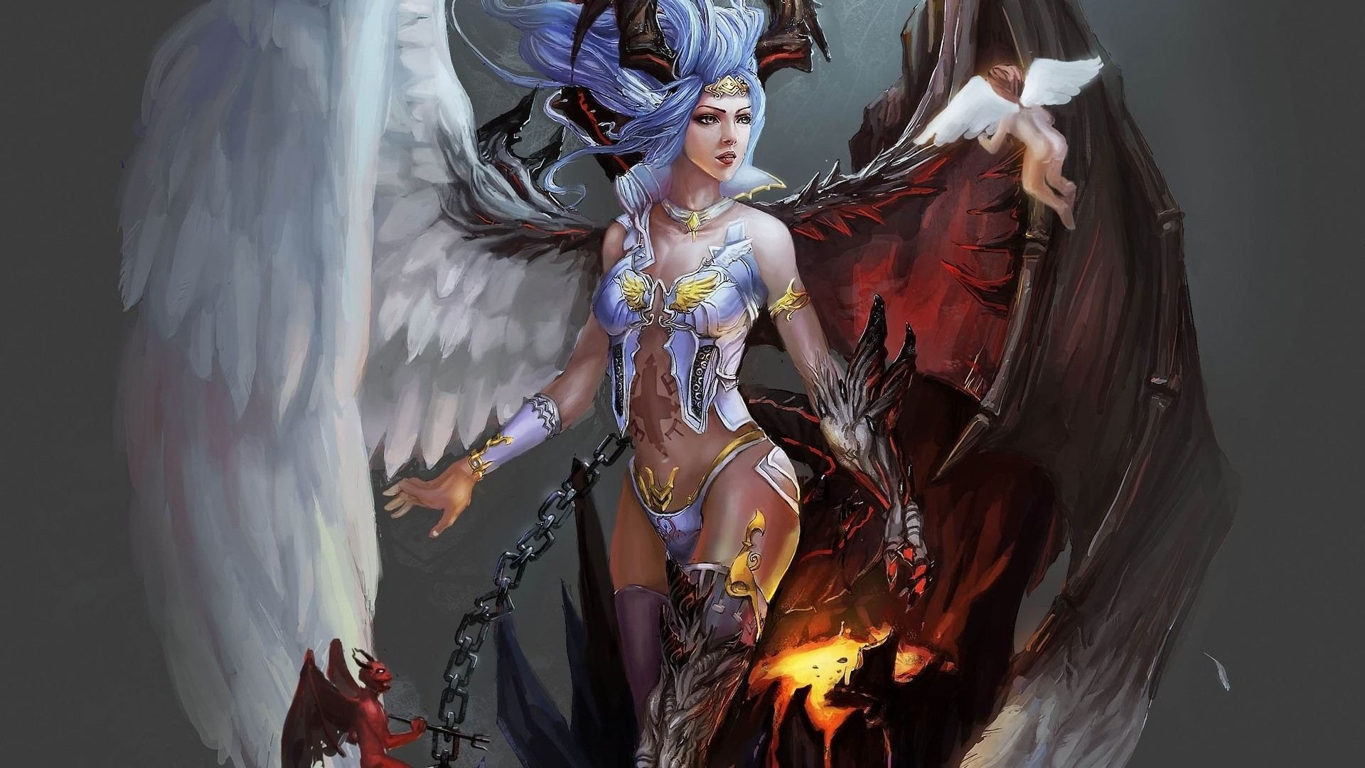 Angel and Demon | Full HD Desktop Wallpapers 1080p