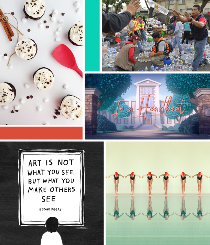 September favorites, friday links, recipe, hot chocolate cupcakes, Mexico earthquake, art, photography, short film, In A Heartbeat