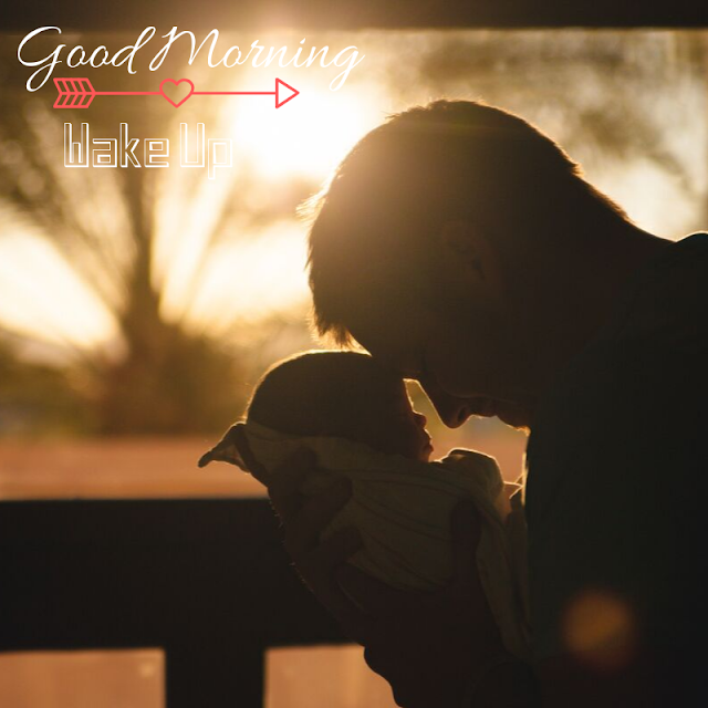 sleeping Baby with father  Good Morning Images
