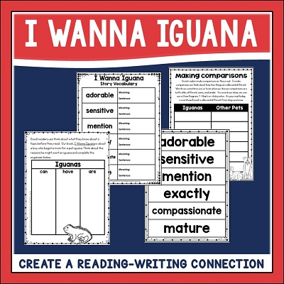Creating a reading-writing connection is an important component of a mentor text lesson. Check out this post on using I Wanna Iguana for teaching persuasive writing. #mentortexts make lessons meaningful!