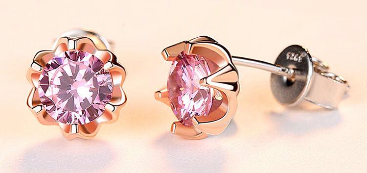玫瑰金色粉鋯石花朵 925純銀耳環