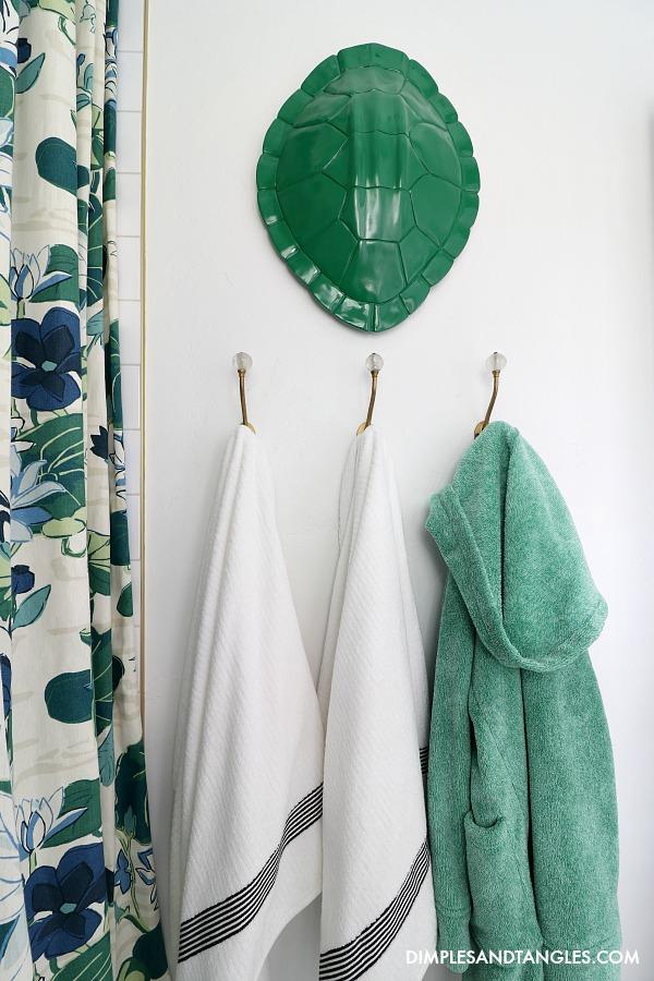 Nate Berkus Faux Turtle Shell, bathroom towel hooks, kids bathroom makeover