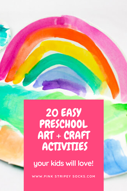 20+ Easy and low prep preschool art and craft activities perfect to do at home with materials already around the house!