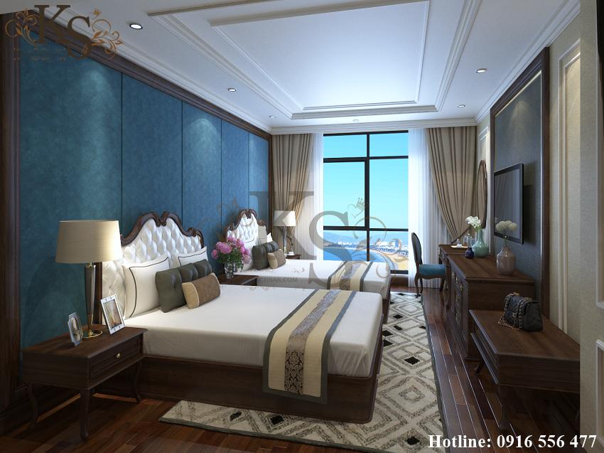 Hình ảnh: Tone màu trắng và xanh được chọn làm hai màu sắc chủ đạo có trong thiết kế nội thất phòng ngủ khách sạn 3 sao.