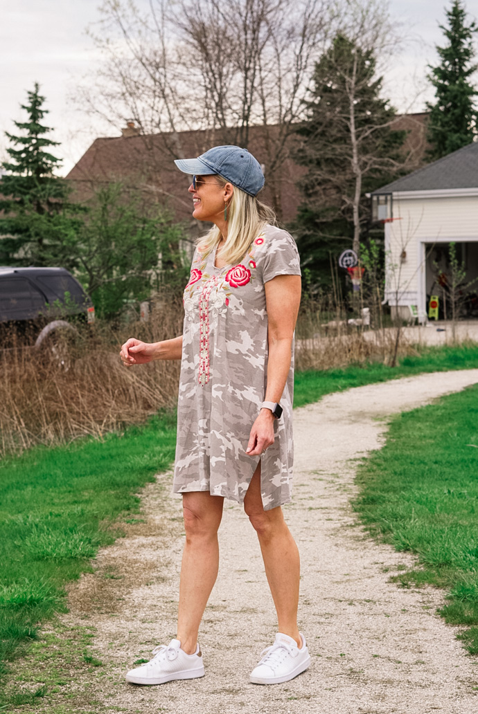 what to wear with a camo print tee shirt dress