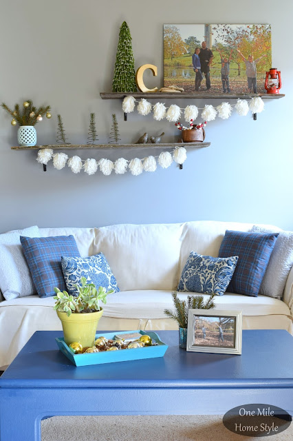 Word of the Year 2016: Simplify | One Mile Home Style - Winter Living Room with Blue and White