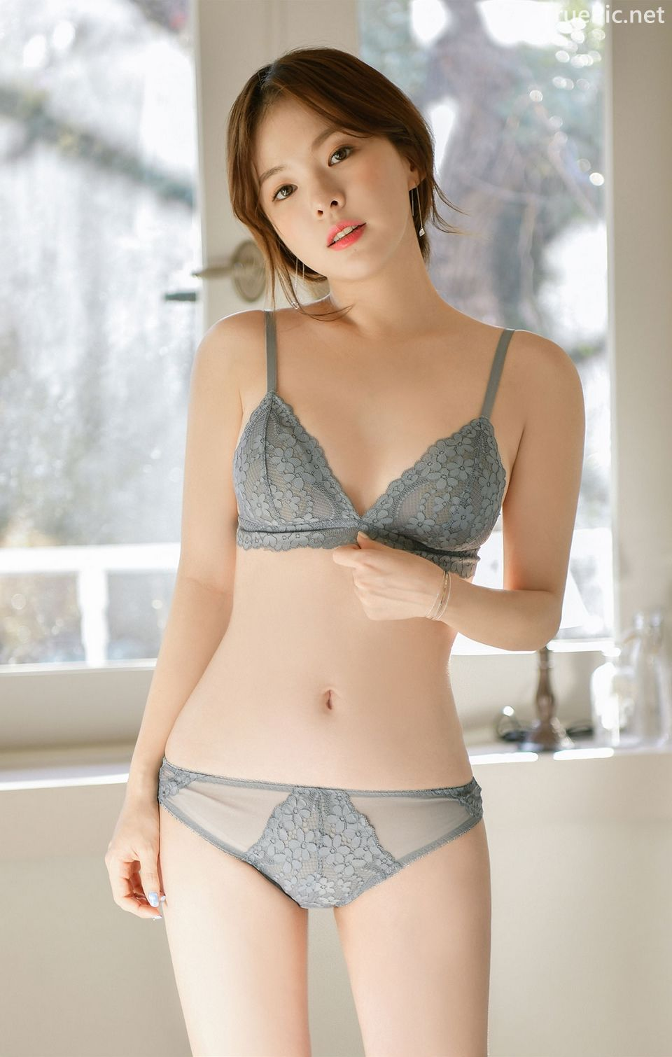 Korean model and fashion - Lingerie queen Haneul - Gray blue Lingerie set - Picture 4