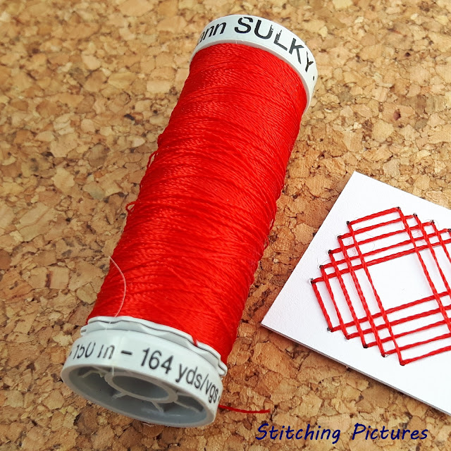 Stitching on card paper embroidery using Gutermann sulky rayon 30 threads.