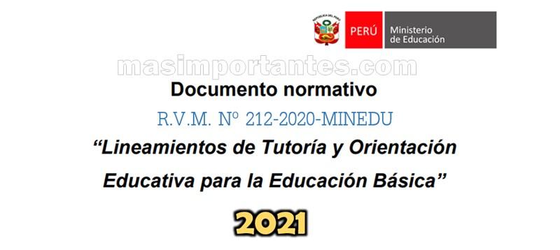Lineamientos de Tutoría y Orientación Educativa RVM Nº 121-2020-MINEDU