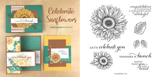 Stampin' Up! Celebrate Sunflowers Card Kit  ~ 2020-2021 Annual Catalog ~ Stamp of the Month Club Card Kit ~ www.juliedavison.com