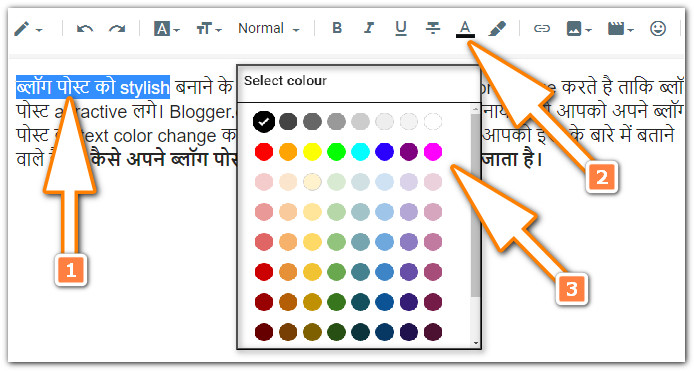 How do blog post text color change?