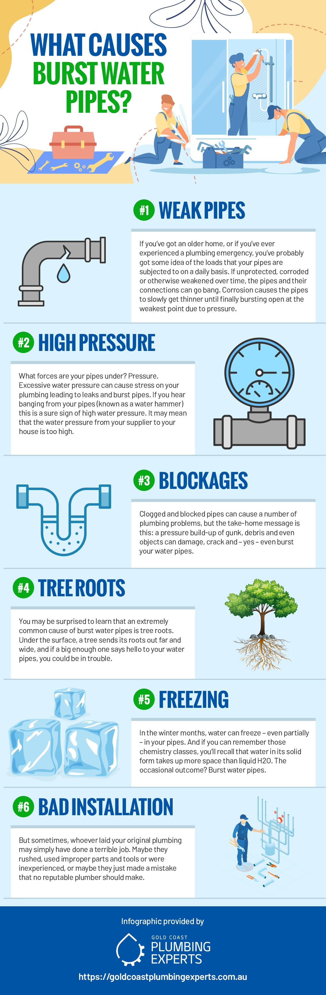 What Causes Burst Water Pipes? Here Are 6 Common Culprits #infographic